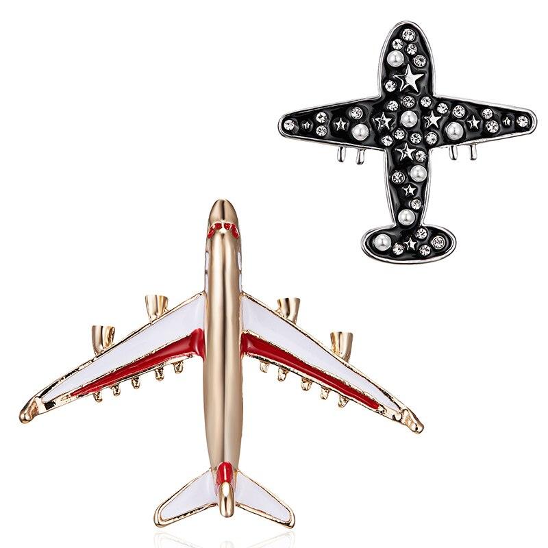 1 шт., сплав, самолет, Ретро стиль, Воздушный самолет, броши на булавке, эмаль, стразы, жемчуг, самолет, шарм, ювелирные изделия, вечерние, значок, брошь для банкета, самолет