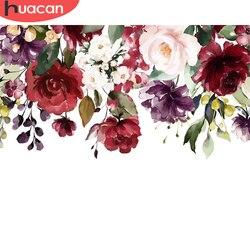 Huacan diy fotos por número kits de flores desenho sobre tela pintura por números rosa pintados à mão pinturas arte presente decoração casa