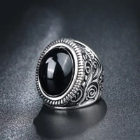 vintage metal inlaid black crystal zircon womens ring fashion glamour party cocktail party ring jewelry accessories for women