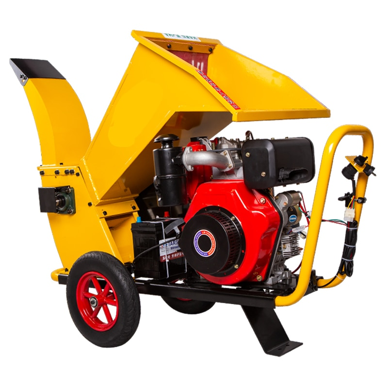 Diesel Electric Starter Wood Crusher Orchard Branch Crusher Garden Agriculture Machinery Mobile Tree Crusher