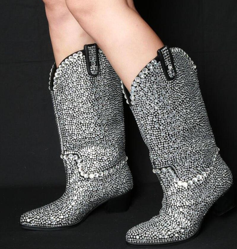 Bling mujer de diamantes de imitación completa perforado botas mujer punta Chunky talones mediados ternero botas deslizamiento en Jeweled cristal Bottes zapatos