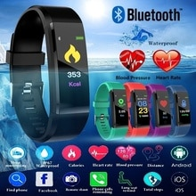 115Plus Waterproof Smart Watch Heart Rate Blood Pressure Smart Band Fitness Tracker Smartband Bluetooth Men Women Smart Watch