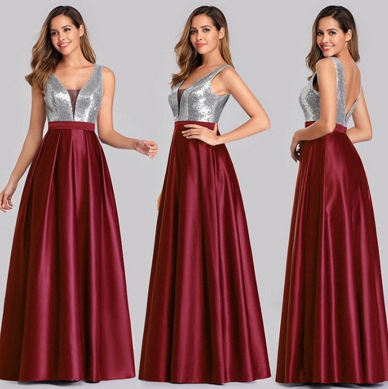 2021 Sleeveless V-Neck Floor Length Backless Bridesmaid Dress Evening Dress for Ladies' Party Dress