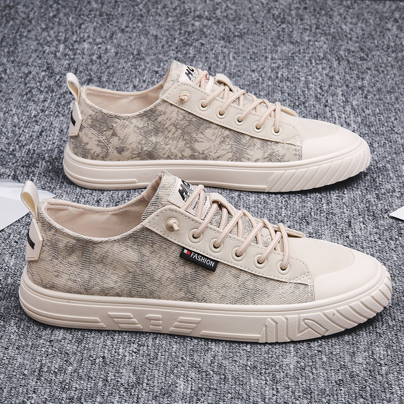 Men's Shoes Summer Breathable Thin Trendy Shoes White Shoes Korean Fashionable Casual Canvas Sneakers