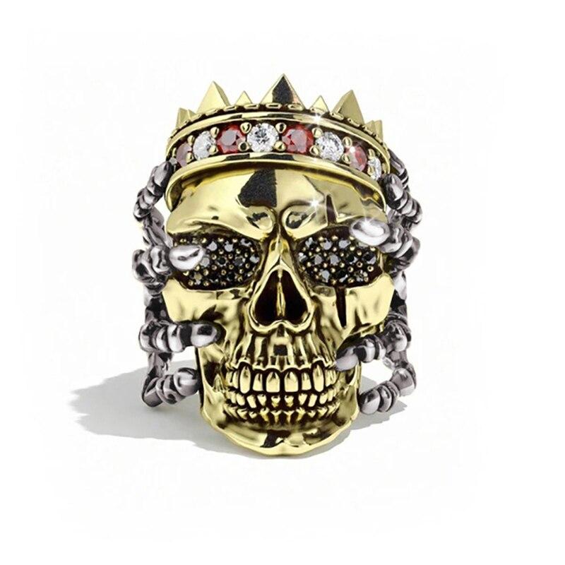 Трендовое властное панк мужское кольцо с черепом уличное рок ювелирные изделия для мужчин вечерние Подарок на годовщину