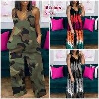 summer tie dye print combinaison femme deep v neck sling wide leg pant overalls y2k women plus size jumpsuit streetwear clothing