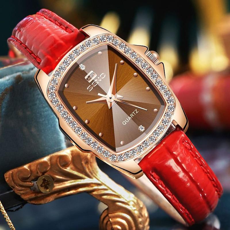 Aristocratic style retro rectangular diamond-studded ladies watch simple belt quartz watches women fashion matching luxury watch