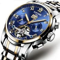 KINYUEDSapphire Synthesis High-strength Mineral Mirror Moon Function Watch Waterproof Men's Mechanical Watches Relógio de homem