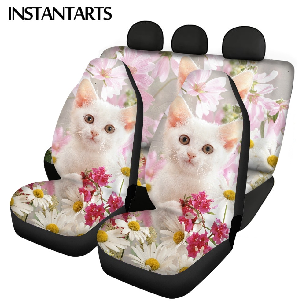 instantarts-kittens-and-flower-prints-fit-most-vehicle-front-back-car-seat-covers-slip-resistant-automobile-seats-protector-soft