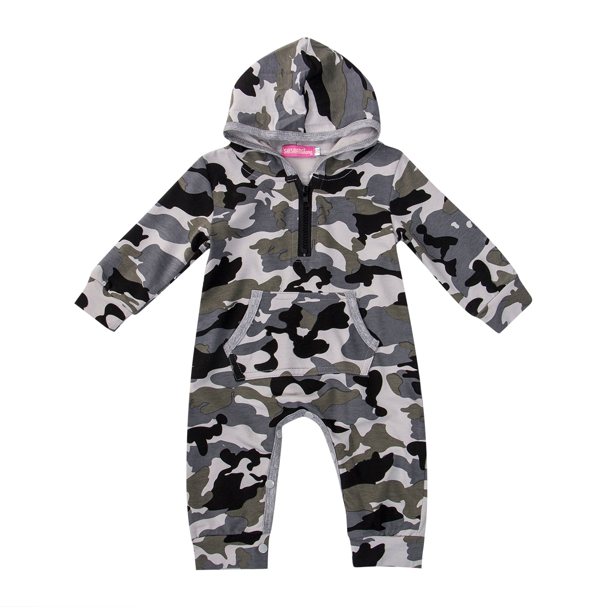 Toddler Baby Boy Hooded Boy Camouflage Romper Newborn Baby Camo Long Sleeve Bodysuit Infant Jumpsuit Boys Baby Outfit Warm 0-24M