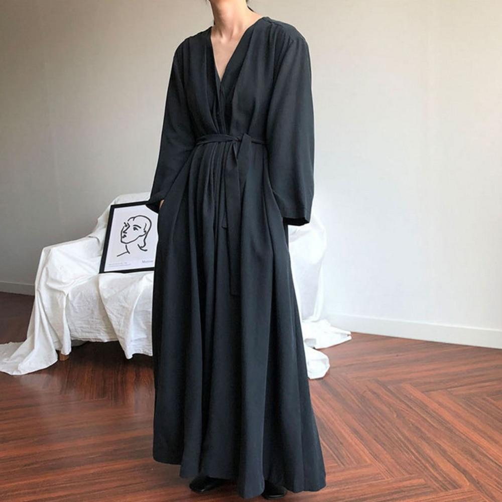 Sexy Plunge V Neck Women's Dress Long Sleeve Maxi Dress Elegant Clothes