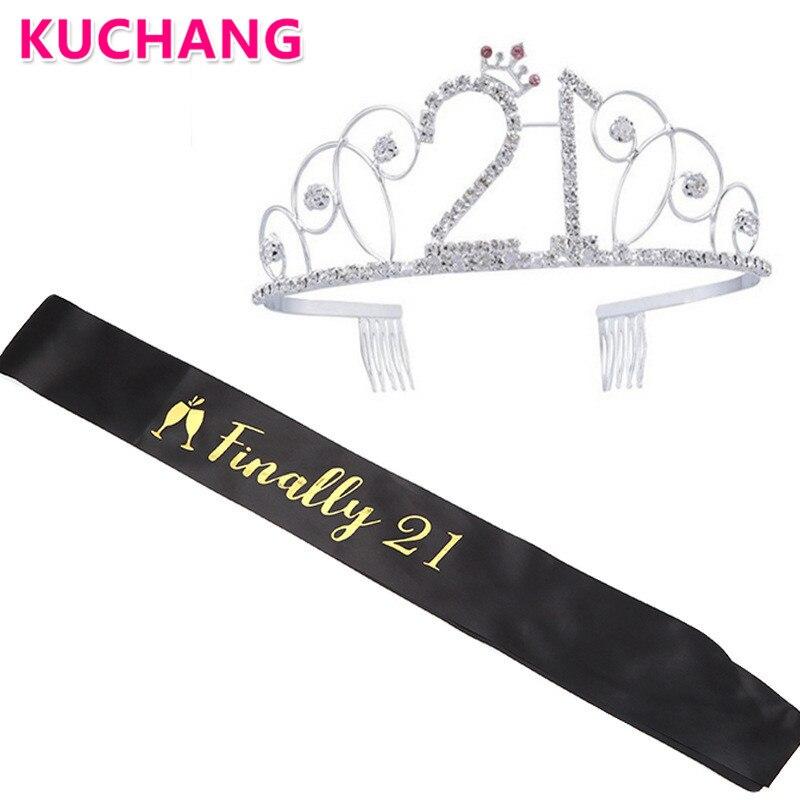 2 uds de plata de oro rosa corona princesa tiara finalmente 21 marco 21st 30th 40th chica adornos para fiesta de cumpleaños regalos a Favor de