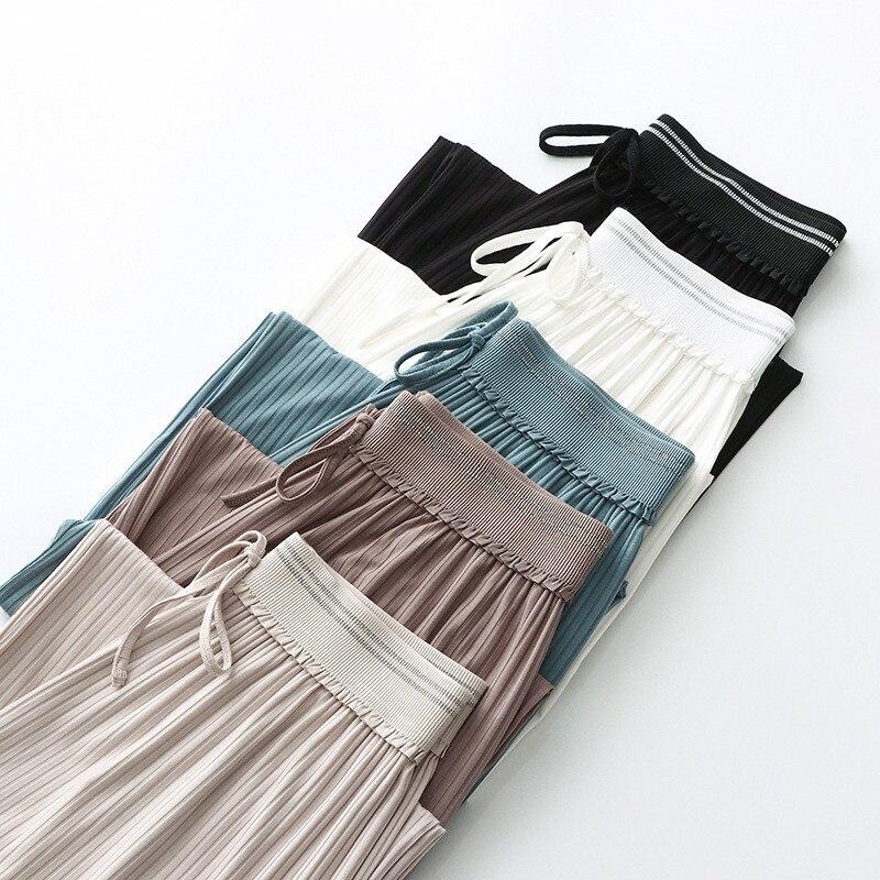 Pantalones de Casa de Otoño de cintura alta sueltos rectos para mujer ropa de casa ropa de salón ropa de casa de mujer Casual transpirable otoño pantalones modales