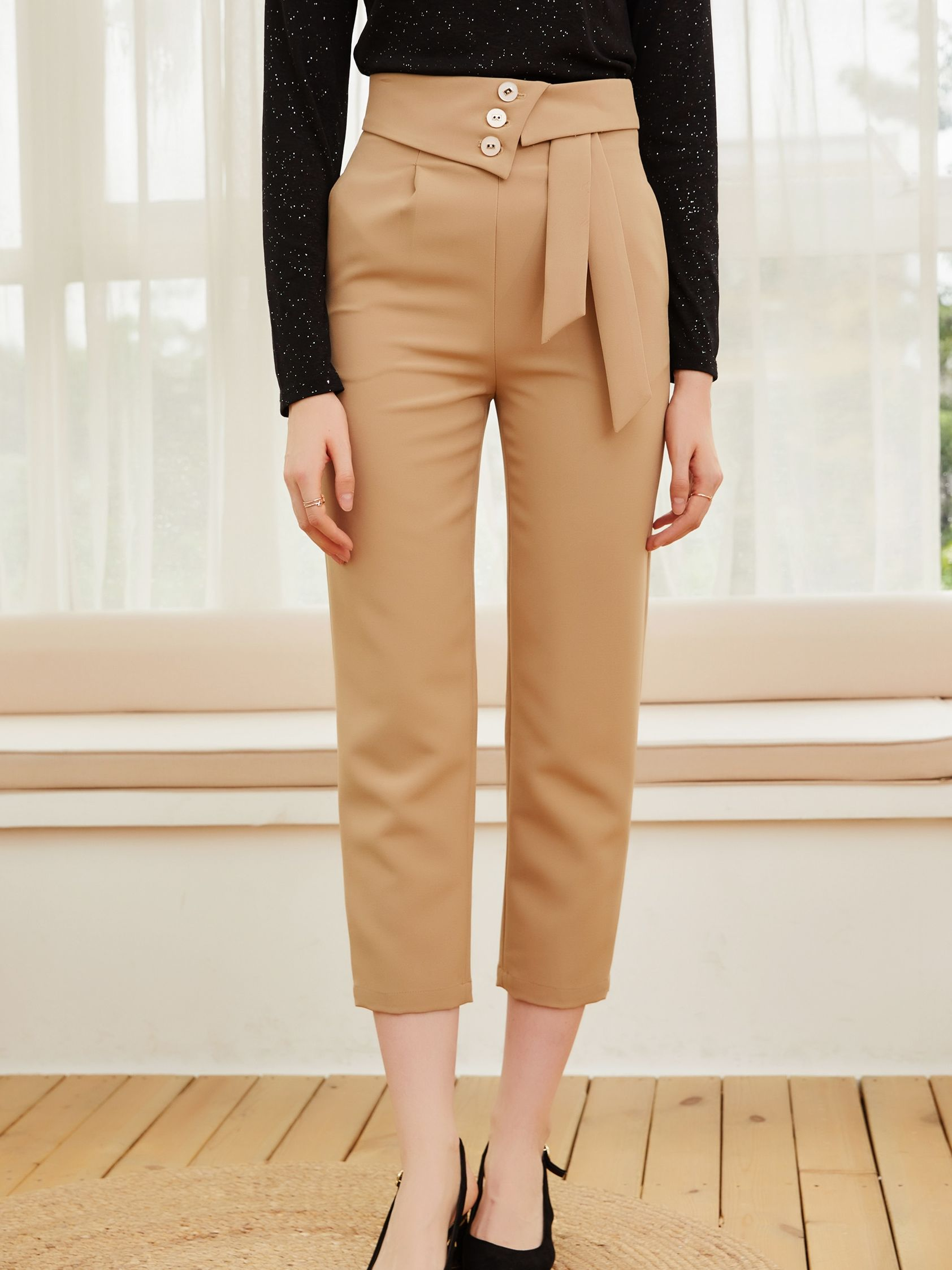 Brand women's wear 2021 spring and autumn new style women's Leggings solid color straight pants lace