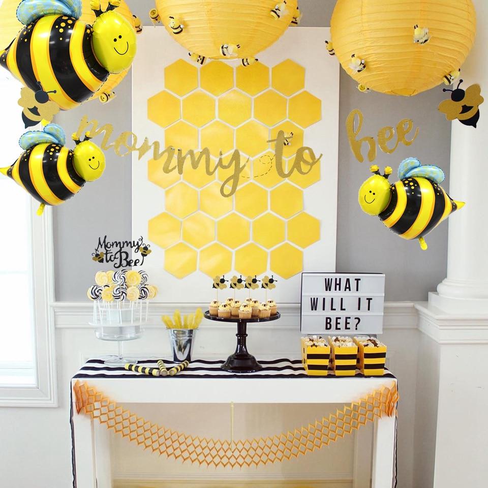 1Set Nette Honigbiene Serie Ballons Mama Zu Bee Papier Banner Bee Kuchen Topper Baby Dusche Kinder Geburtstag Party Dekoration