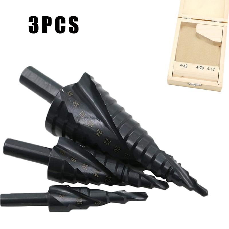 3Pcs/Set 4-32MM HSS Cobalt Step Drill Bit Set Nitrogen High Speed Steel Spiral For Metal Cone Triangle Shank Hole Bit opener