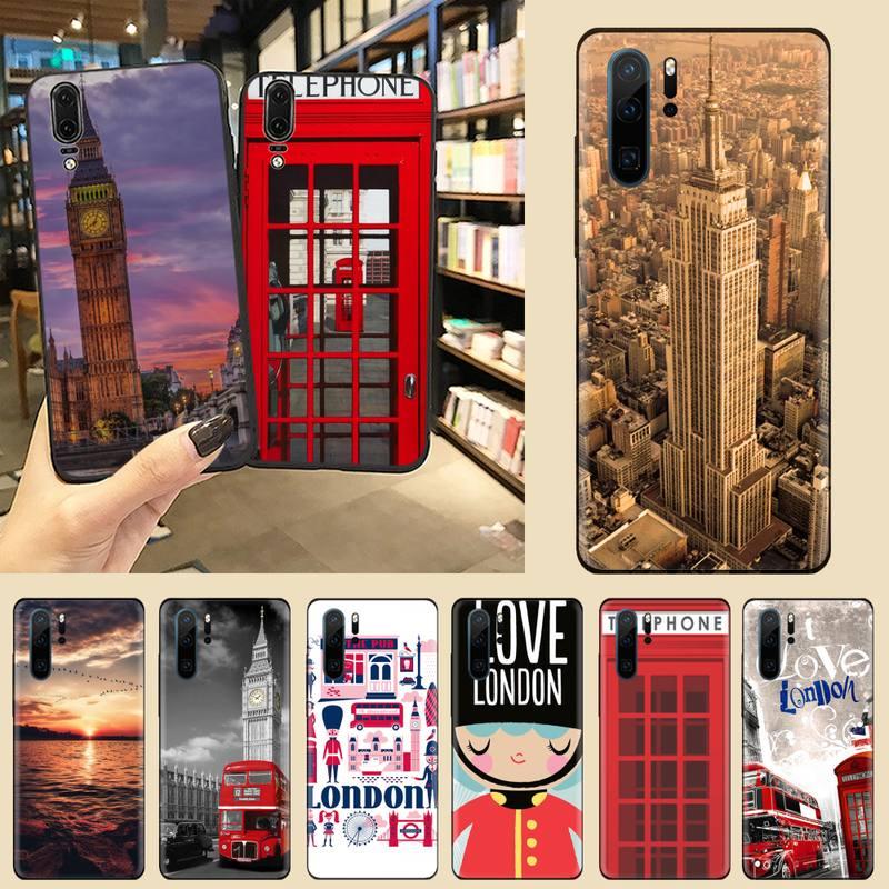 Londres Big Ben autobús Construcción del imperio de la cubierta del teléfono para Huawei P9 P10 P20 P30 Pro Lite smart Mate 10 Lite 20 Y5 Y6 Y7 2018, 2019