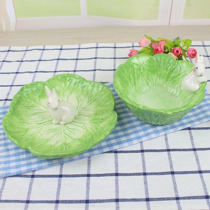 Criativo dos desenhos animados talheres coelho lanche placa de frutas tigela prato de doces cerâmica garfo colher faca bonito pratos e placas conjuntos