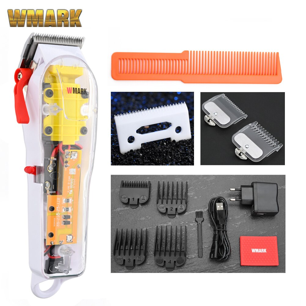 2020 WMARK New Model NG-108 Rechargeable Hair Cutting Machine Hair Clippers Trimmer Transparent Cover White Or Red Base 7300rpm enlarge