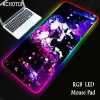 rem re zero anime girl rgb mouse pad gaming large computer gamer pad backlight mause keyboard desk mat