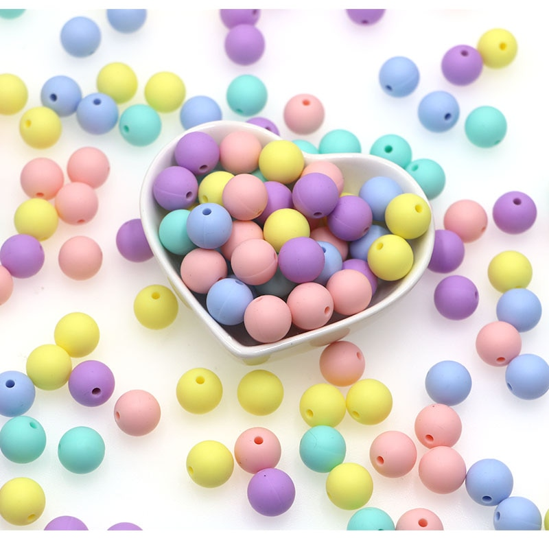 kovict 100/200/500/1000pcs Silicone Bead 12mm Round Perle Silicone Dentition Baby Teething Bead For