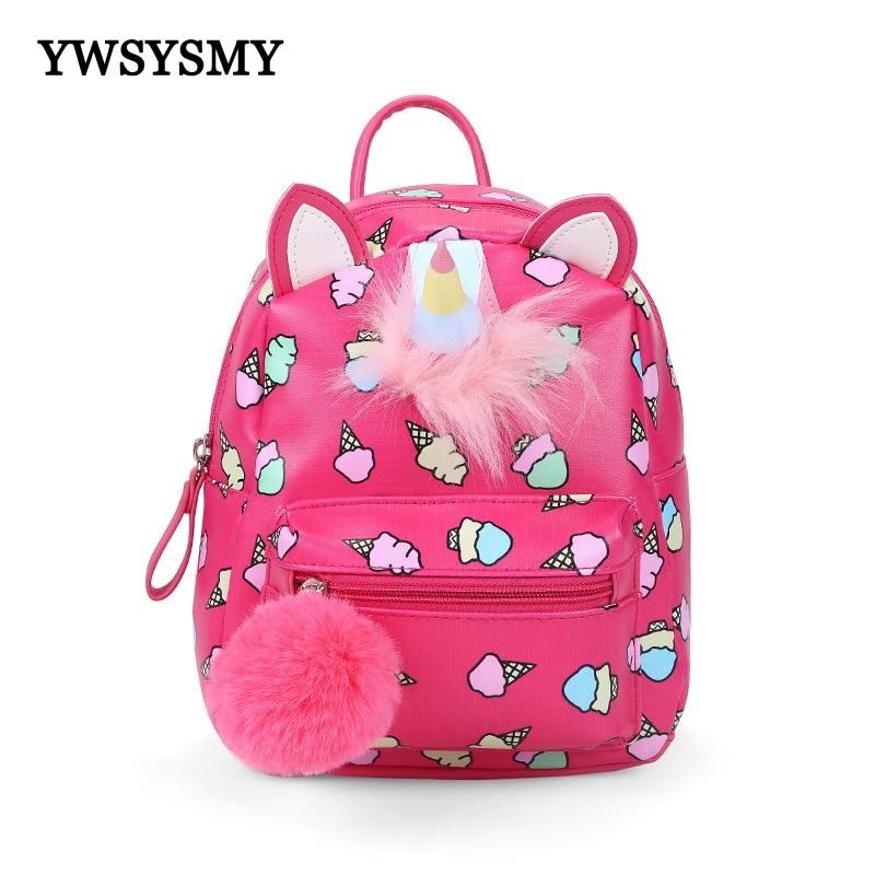 Маленький кожаный рюкзак для девочек, милый детский школьный ранец с мультипликационным единорогом для детского сада, дошкольного возраст...