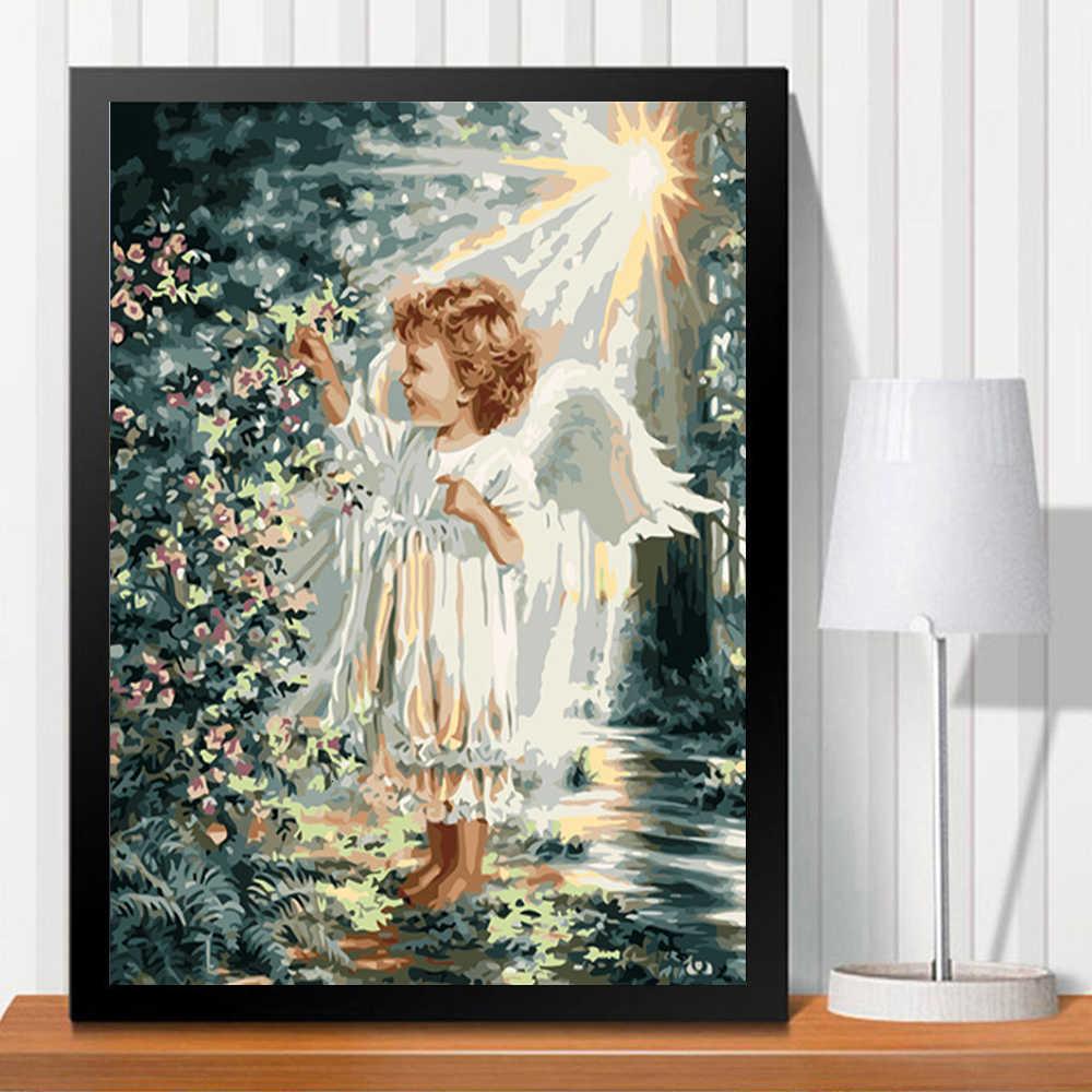 Huacan Pintura Por Números Diy De Chica ángel Kits Pintados A Mano Dibujo De Lienzo Imágenes Figura Decoración Del Hogar Pintura Por Números Aliexpress