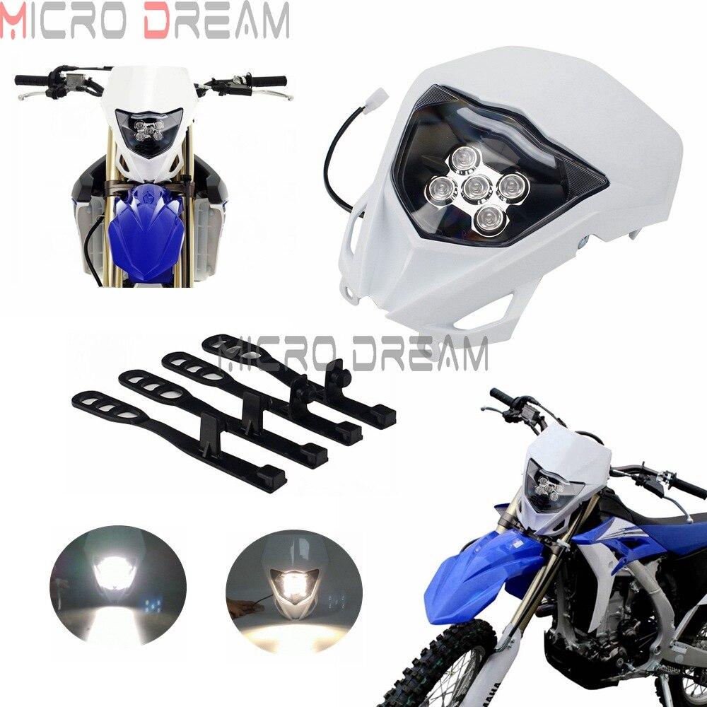 الدراجة الترابية LED العلوي Supermoto كشافات لياماها WR250F WR250R WR450F YZ450 الأبيض إندورو MX المزدوج الرياضة رئيس ضوء هدية