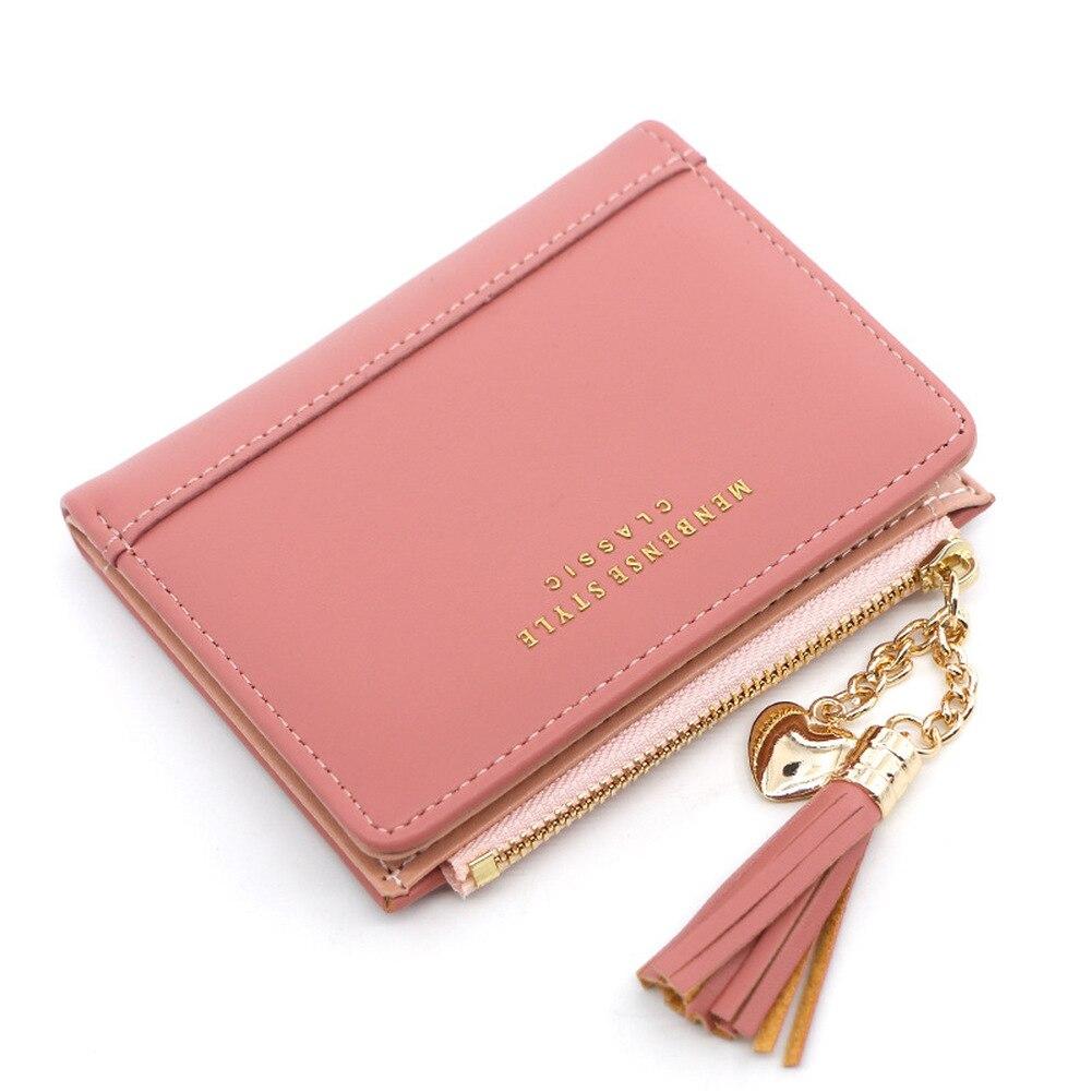 Tassel Women Wallet Small Cute Wallet Women Short Leather Women Wallets Zipper Heart Purses Portefeu