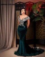 dark green mermaid off the shoulder evening dresses luxury 2021 velvet beaded v neck elegant party gown dinner dress