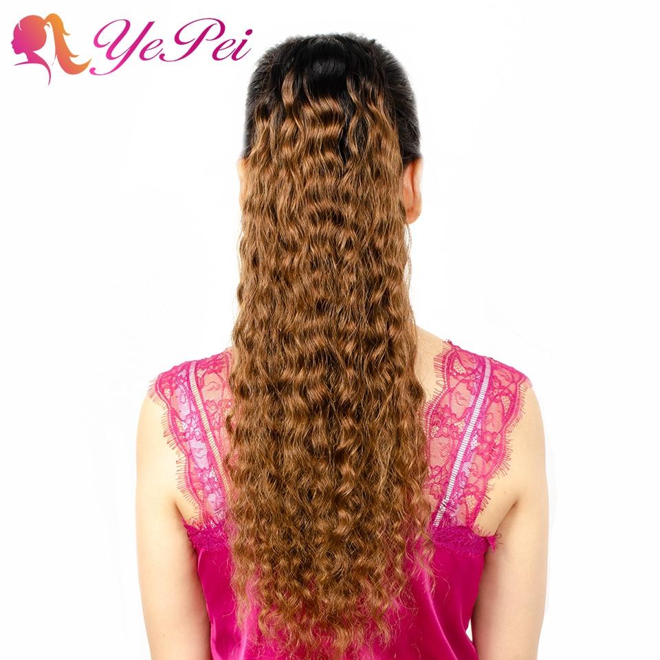 Extensiones de pelo humano de cola de caballo con cordón Ondulado Natural Ombre para mujeres negras Yepei Pony Tail