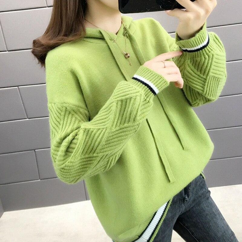Jersey de mujer, Jersey informal para mujer, suéter de Mohair de manga larga con cuello redondo a cuadros, estilo rojo de otoño e invierno