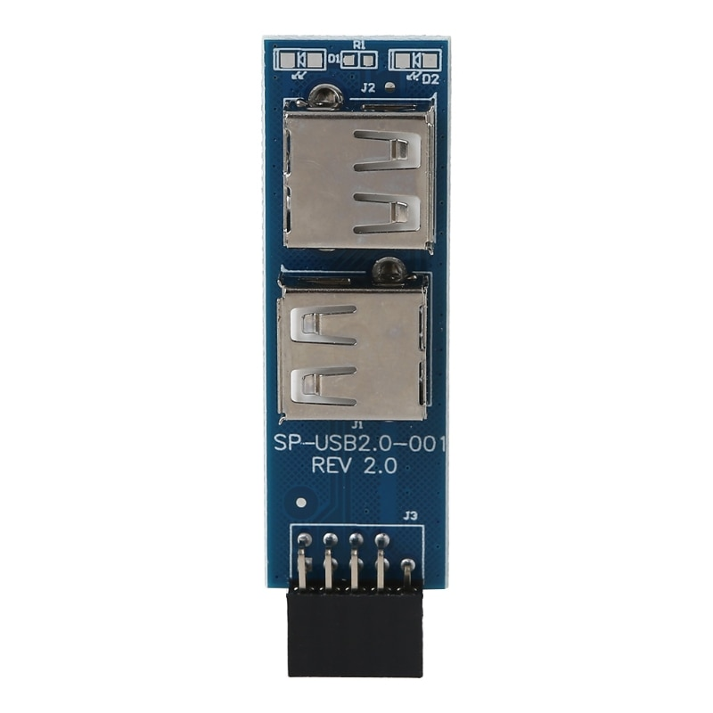 Motherboard Type A Female Adapter Converter Connector 9pin to 2-Port USB 2.0 Connect USB devices Mouse Receiver