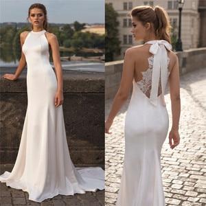 Simple Mermaid Satin Wedding Dresses With Lace Back Beach Sleeveless Bridal Gowns Custom Beach Fishtail Natural Waistline