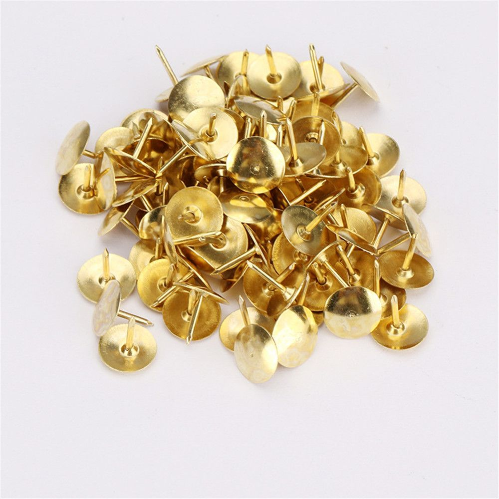 100pcs/box Gold Color Metal Thumb Tack Bulletin Board Message Paper Fixed Push Needle Pins Office Binding Supplies Push Pins