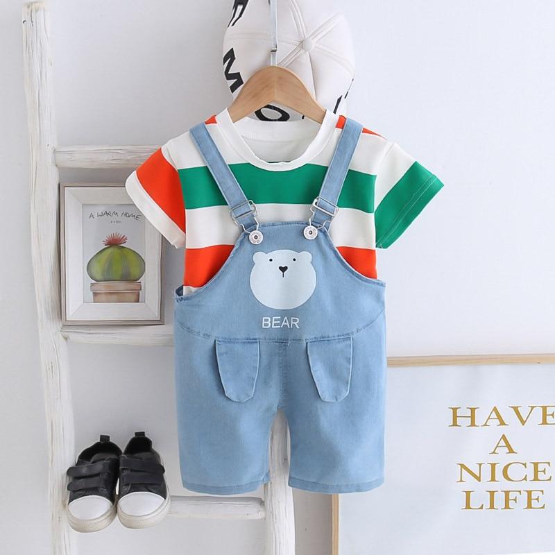 Baby Boys Girls Summer T Shirt+Denim Jeans Short Clothing Set Infant Kids Overalls Tracksuit Children Sports Suit Toddler Clothe