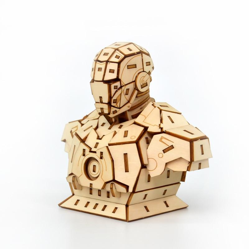 Marvel vengadores superhéroes Iron Man juguetes 3d rompecabezas de madera montaje de juguete modelo de madera artesanía Kits decoración de escritorio para niños