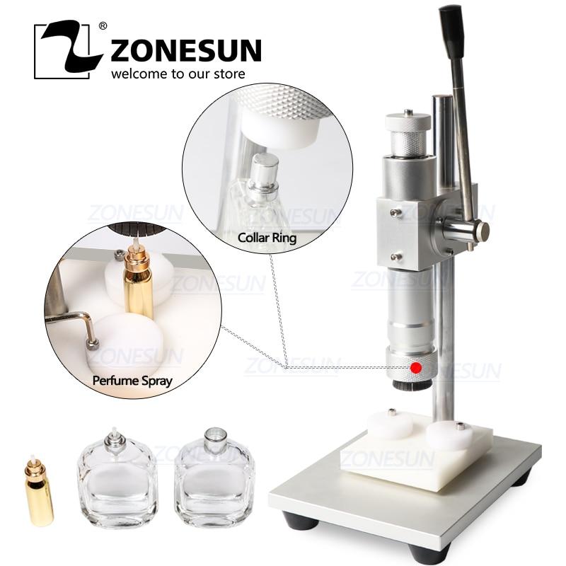 ZONESUN Perfume Bottle Capping Machine Crimper Capper Metal Collar Cap Press Capping Spray Crimping Machine 13/15/18/20mm
