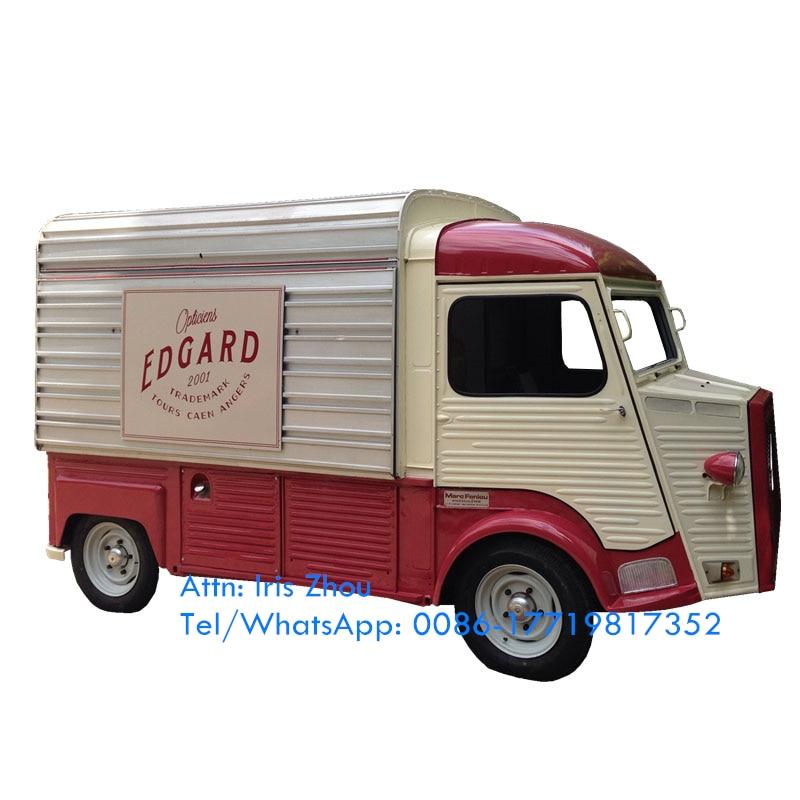 Nova rua cozinhar reboques citroen hy comida carrinho de venda automática elétrico vintage caminhão de comida móvel comida reboque venda