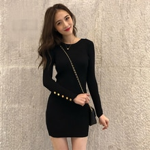 Autumn and Winter New Western Style Knitted Dress Slim Fit Slimming Fitted Waist Sweater Elegant She