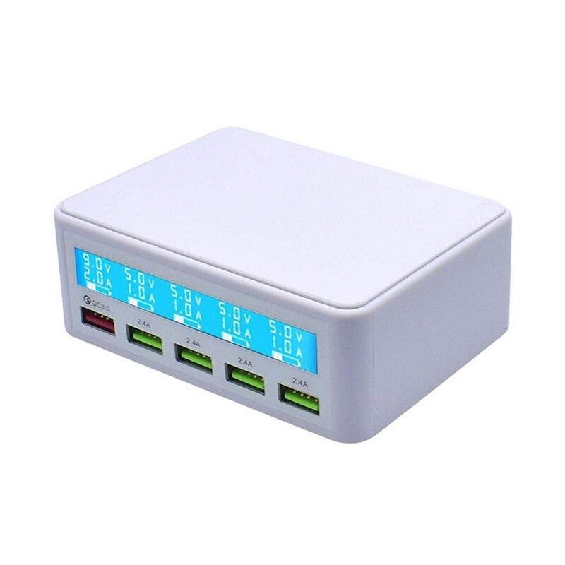 Carga rápida Qc 3,0, cargador inteligente de 5 puertos Usb, estación adaptadora de corriente, pantalla Lcd (enchufe blanco de la UE)