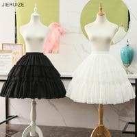 JIERUIZE Lolita Cosplay Petticoats White Black Chiffon Lace Short Ball Gown Crinoline Bridal Petticoats Underskirt