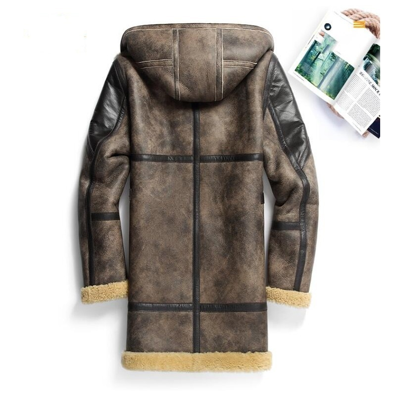Italian Mens Military Shearling Mid Long Jacket Natural Lamb Wool Real Sheep Fur Lining Coat Leather Biker Loose 6XL Overcoat