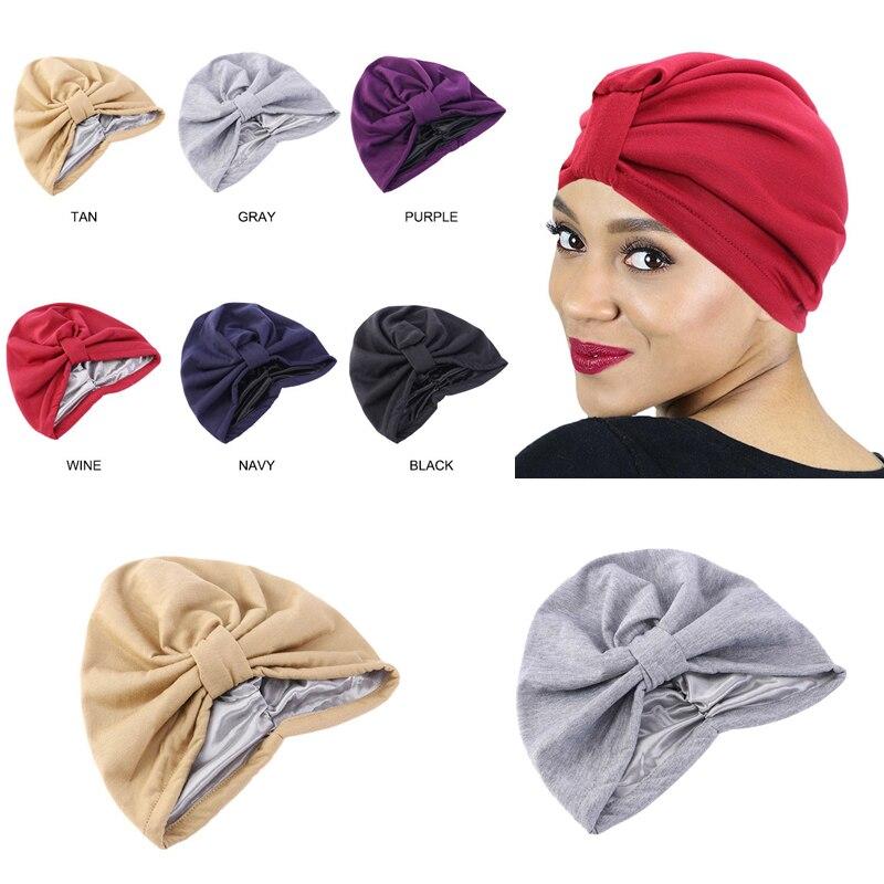 Venda quente senhoras boné de cabelo para dormir dupla camada elástica chapéu haircare quimioterapia turbante bonnet cetim forrado lenço