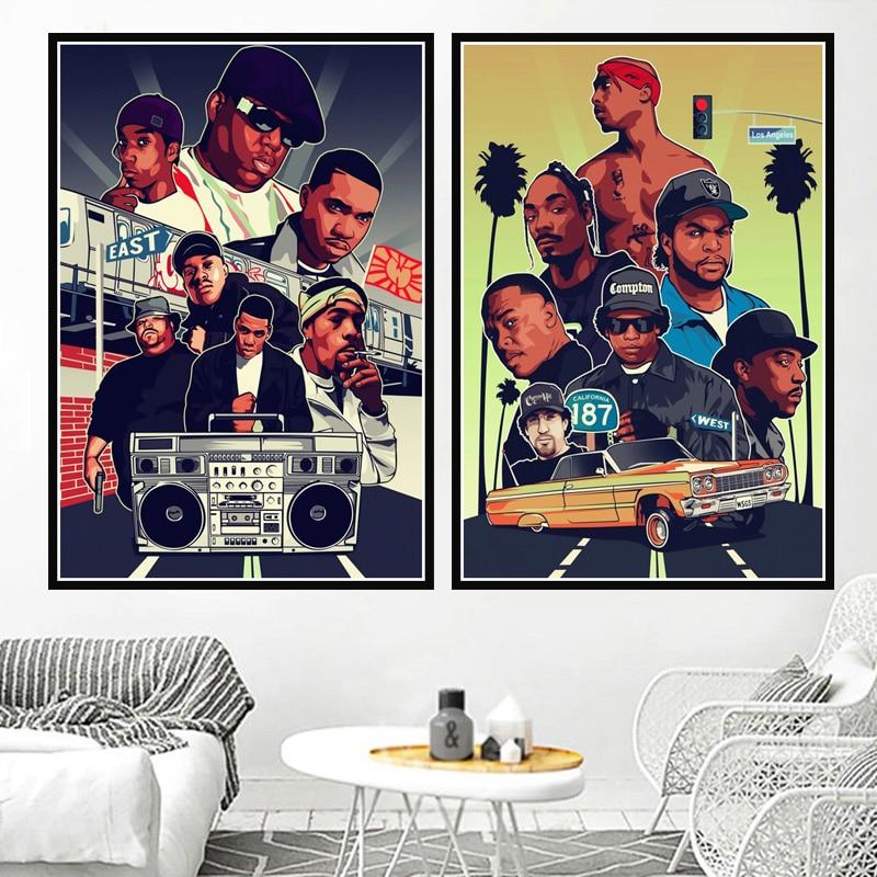 Poster imprime pintura al óleo 2PAC West Hip Hop Biggie Smalls rapero Collage estrellas lienzo pared arte cuadros sala de estar hogar Decoración