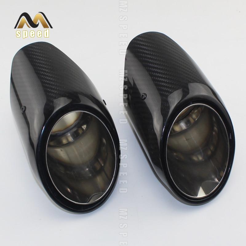 Car Exhaust exhaust muffler tail throat universal gloss 102mm export carbon fiber mirror stainless steel for cayenne BMW E46 E90