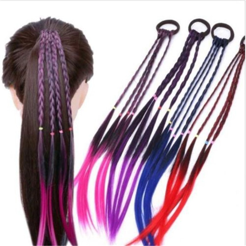 Brand New Women Ladies Braided Synthetic Hair Plaited Plait Elastic Headband Hairband Wig Vogue Cool Colorful Artificial Braids