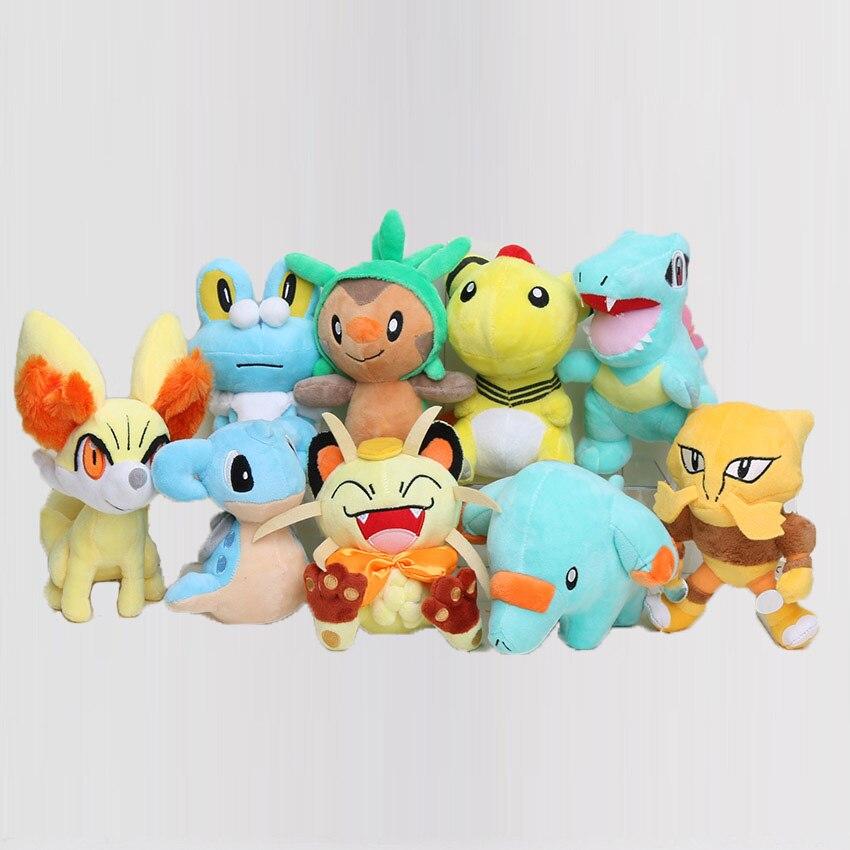 9 unids/set muñeca Poke de dibujos animados japoneses Froakie Chespin Fennekin Meowth Foodin Totodile Phanpy muñeca de peluche regalo