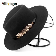 Moda outono 2019 inverno aba larga chapéu fedora feminino homem com cinto panamá jazz boné trilby feltro chapéus vintage chapeau feutre homme