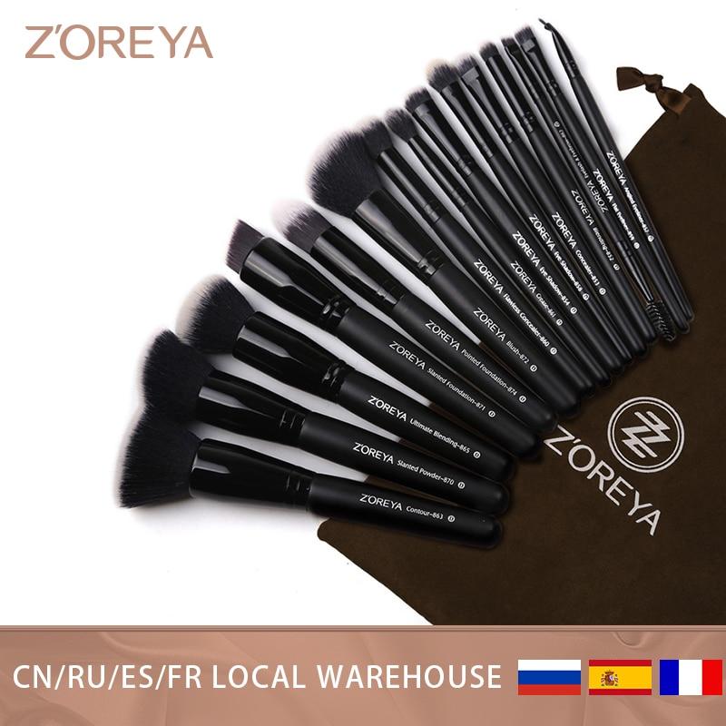 Zoreya Brand 7/15pcs Black Makeup Brushes Set Eye Shadow Powder Foundation Brush Best Blending Concealer Cosmetic Tools